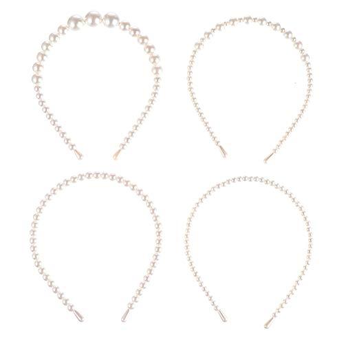 Lurrose Diadema de Boda de Perlas de 4 Piezas Diadema de Perlas...