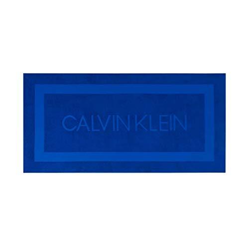 Calvin Klein Terry Sculpt Toallas de Playa, Algodón, Azul Real, 91x183 cm