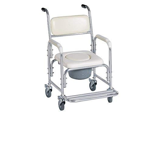 HEALTHLINE Shower Bedside Commode Chair Padded Seat With Wheels by Healthline, Medical Commode Toilet Rolling Shower Chair With Casters (4 Wheels Brakes), Commode Padded Backrest and Seat