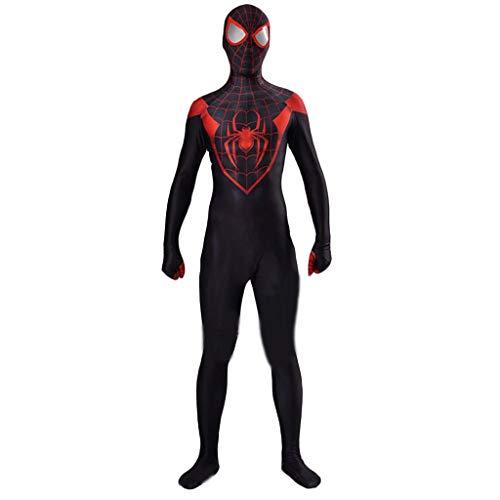 QWEASZER Disfraz de superskin de Spiderman negro - Segunda piel para hombres y mujeres unisex adultos | Zentai Onesie Outfit Halloween Lycra,Spiderman-XL