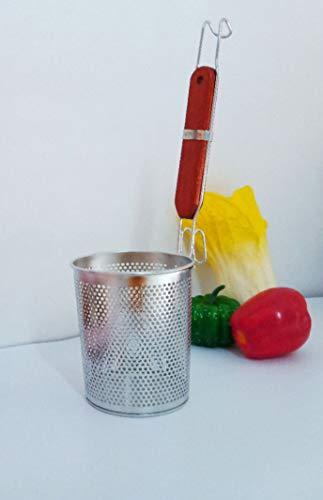 Contiup- Colino per pasta in acciaio inox Filtro per alimenti a forma di ragno a rete, Cestello per filtro con manico in legno massiccio da 9,75 \'\', utensile da cucina, generoso 39 OZ.