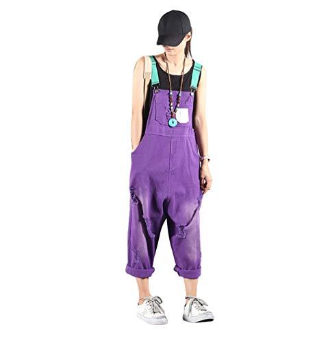 JEELINBORE Damen Denim Latzhose Weites Bein Overalls Latzjeans Strampler Jeans Boyfriend übergroße Jumpsuits Hose (Violett, One Size)