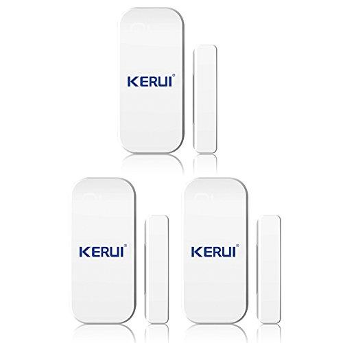KERUI - Magnétique Fenêtre Porte Les Alarmes de Capteurs sans Fil Cambrioleur Intruder Sécurité X 3 - Alarme sans Fil Détecteur Magnétique Ouverture Porte Fenêtre Inductif Système Sécurité