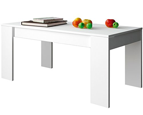 Vaste salontafel in wit, 100 x 50 x 45 cm