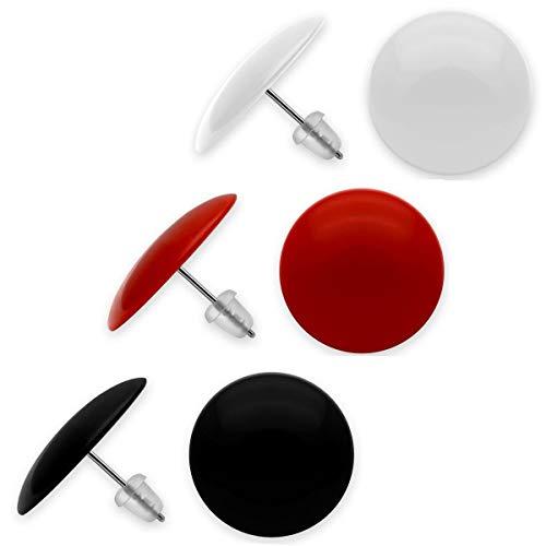 Soul-Cats® 3 Paar süße Ohrstecker mit Pin aus Edelstahl in den Farben rot, weiß und schwarz