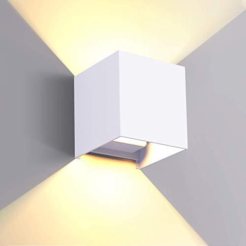Lampada da parete LED 6W per Interni Esterno litwlds Applique da Parete Muro Moderna Up Down in alluminio per soggiorno, camera da letto, tromba delle scale, corridoio, giardino(Bianca 6W)