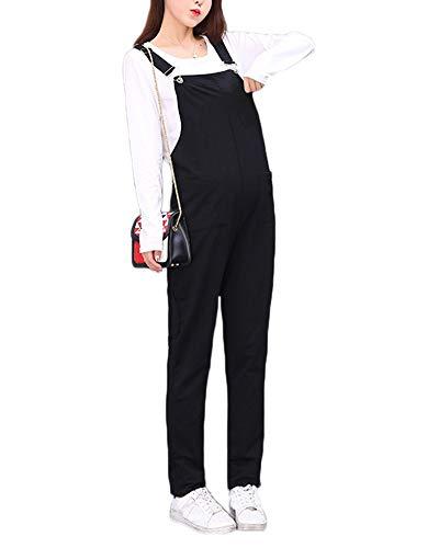 Donna Salopette Premaman Pantaloni Romper Jumpsuit Pagliaccetto Monopezzi Tutine Nero M