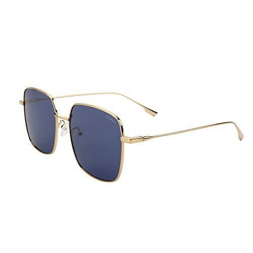 VIVIENFANG Occhiali da sole in metallo oversize quadrati, UV400 Premium polarizzato, occhiali da sole ispirati al designer per donna/uomo UJ1S0531