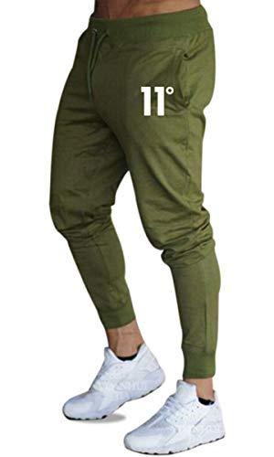 Frecoccialo Pantalones de Deporte para Hombre Chándal Ajustados Multicolores Cintura Elástica Ajustable Pantalon de Hombre Pitillo Deportivo con Bolsillos (Verde, M)