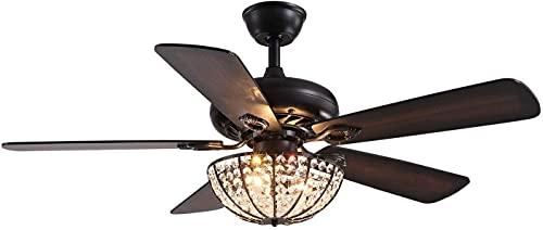 XinQing Ventilatore da soffitto Moderno in Cristallo con luci, Ventilatore per lampadario 48' con Telecomando per Soggiorno Camera da Letto