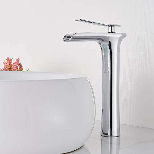 orificio Grifo para lavabo Onyzpily de un solo orificio Latón Cromado blanco Grifo para lavabo de baño Estilo alto Grifo para lavabo en cascada Grifo