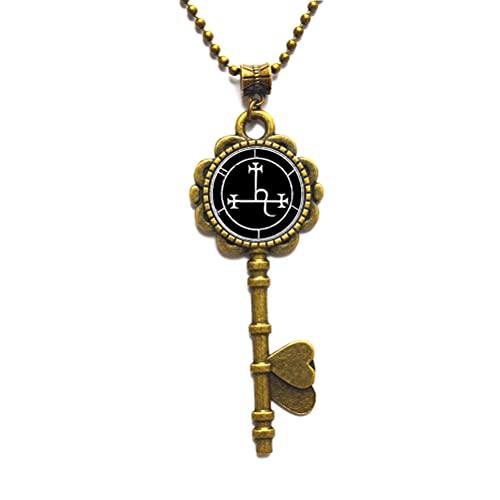 Collar con colgante de amuleto con diseño de talismán esotérico, oculto, llave mágica, collar de llave minimalista, collar de llave delicada, N241