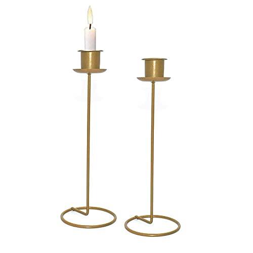 TYXL Candlestick Holder Centerpiece Table Decorative Candle Holder Golden Candlelight Dinner Candle Holder Ornaments Vintage Candelabra Home Decorations (2 Pcs)