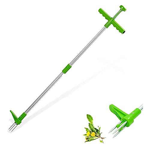 "Stand-Up Weeder Root Removal Tool with 3 Stainless Steel Claws, 39"" Long Reinforced Aluminum Alloy Pole Manual Remover Weed Puller Hand Tool with High Strength Foot Pedal (A)"
