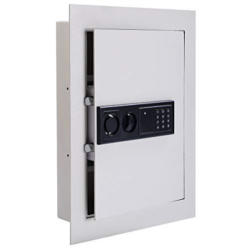 COSTWAY Caja Fuerte Digital Electrónica, Caja de Seguridad Plana en Acero y Escondida en la Pared con Teclado Numérico LED, 2 Llaves de Emergencia, Sistema de Cierre Automática
