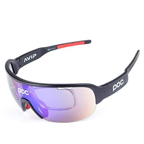 OPEL-R Giro in Bici All'aperto alla Moda nel Polarizzata Occhiali/TR90 Materiale Resistente agli Urti Sport Occhiali/Contiene Cinque Lenti, Bright Black
