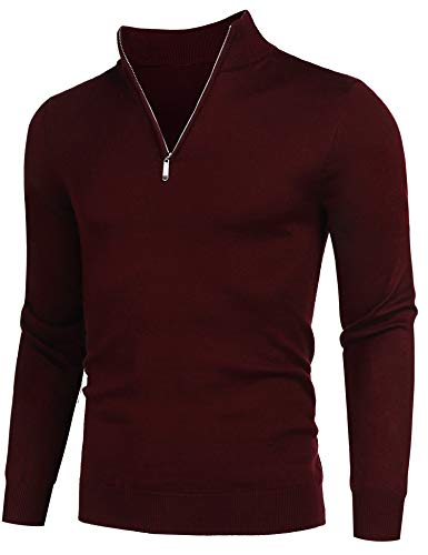 COOFANDY Men's Quarter Zip Sweaters Slim Fit Lightweight Cotton Mock Turtleneck Pullover Wine Red