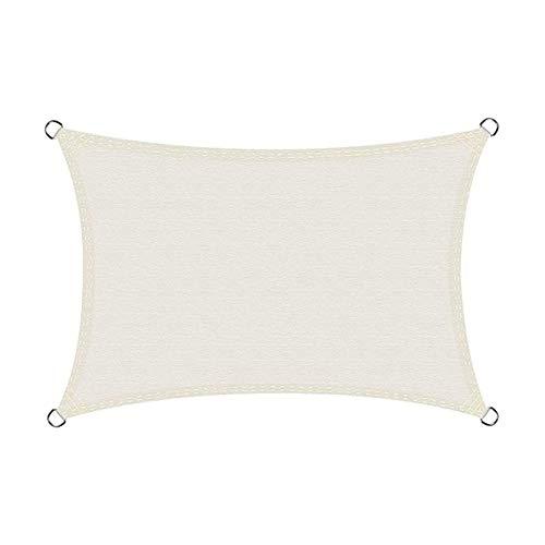 LLCY Sombra Blanca Sna Sail Rectangle Terraza al Aire Libre Paño de Sombra de la Fiesta de jardín, con Cuerda Libre Malla de sombreo (Color : White, Size : 4x6m)