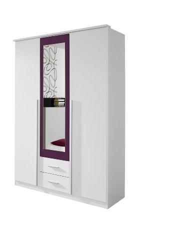Rauch Möbel Krefeld Schrank Kleiderschrank Drehtürenschrank in Weiß / Brombeer, 3-türig mit Spiegel und 2 Schubladen, BxHxT 136x199x56cm
