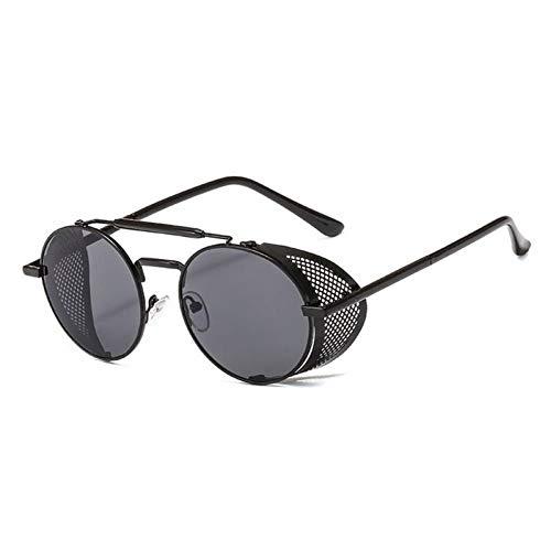 ZZOW Gafas De Sol Redondas Vintage Steampunk Ahuecadas De Metal para Mujer, Diseñador De Marca, Lentes De Espejo Transparentes Tintadas, Gafas De Sol para Hombres