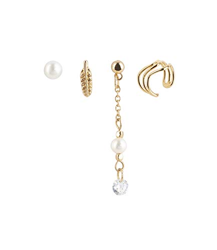 SIX 4er Set Ohrringe vergoldet mit Feder, Perle und Earcuff (549-670)
