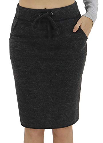 BENANCY Women's High Waist Stretch Pencil Skirt with Pockets Black S