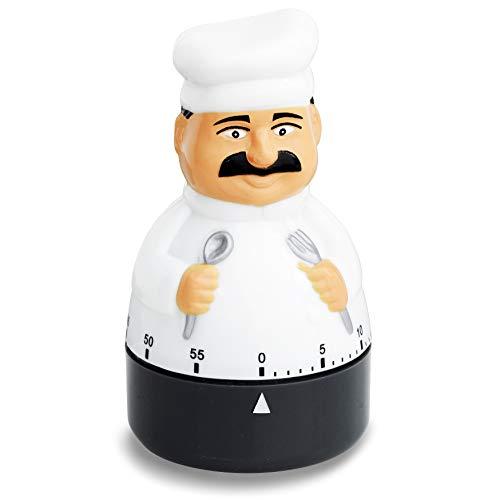 ADE Mechanischer Küchentimer TD 1603. Klassischer Kurzzeitmesser als Koch-Figur aus hochwertigem ABS-Kunststoff zum Aufziehen. Akustisches Signal nach Zeitablauf. Zuverlässige Eieruhr. Rundskala