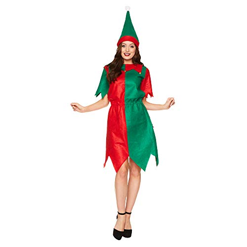 Santa Elf Dress Costume - Christmas Holiday North Pole Cosplay, XL Red, Green - http://coolthings.us