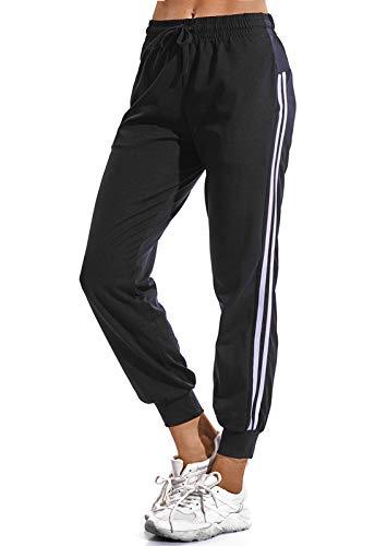 FITTOO Pantalon Chandal Mujer Largos Pantalones Deporte Yoga Fitness Jogger Pantalones Rayas Negro M