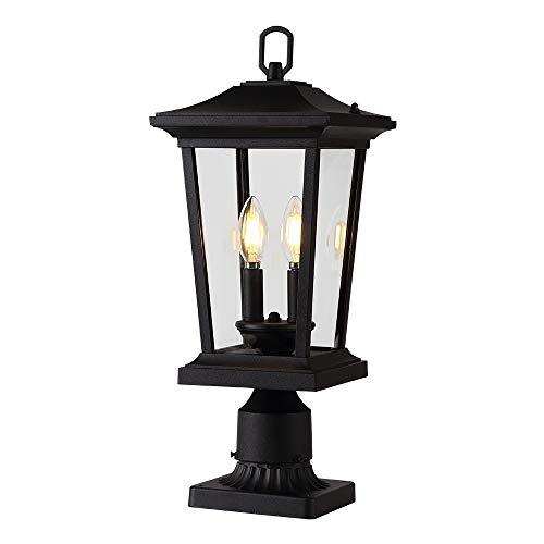 Smeike Outdoor Post Lights, Cast Aluminum Post Light Fixture, 2-Light Pole Mount Light with Clear Glass Panels, Matte Black Finish