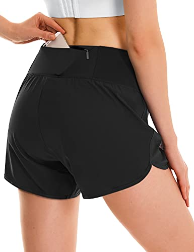 BALEAF Women's 4 Inches High Waisted Athletic Lined Running Shorts Back Zipper Pocket Quick Dry Workout Gym Sportswear Black M