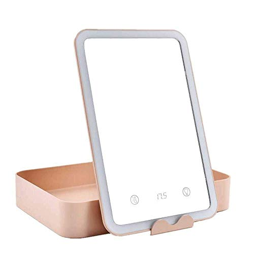 BXU-BG Espejo de maquillaje, espejo portátil, mini escritorio plegable portátil, espejo iluminado LED, espejo de tocador de escritorio.