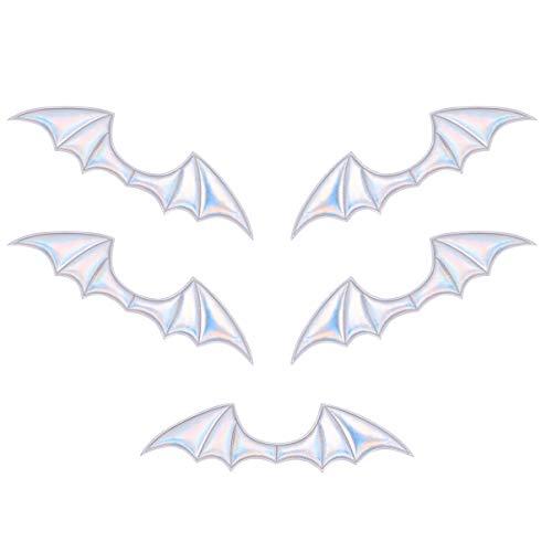 LUOEM 5 Stück Halloween Fledermaus Flügel Charme Glänzendes Leder Handwerk Flügel Ornamente DIY Handgefertigtes Material für Schuh Haarnadel Stirnband (Silber)