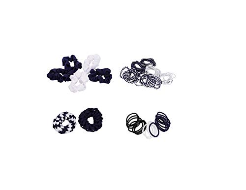 French Toast Kid's School Uniform Assorted Ponytail Holders 4-pack, Navy Blue & White, One Size