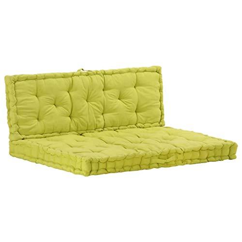 Festnight Sofa de Terrasse Coussin de Siège Coussins pour Canape Coussins de Plancher de Palette 2 pcs Coton Vert