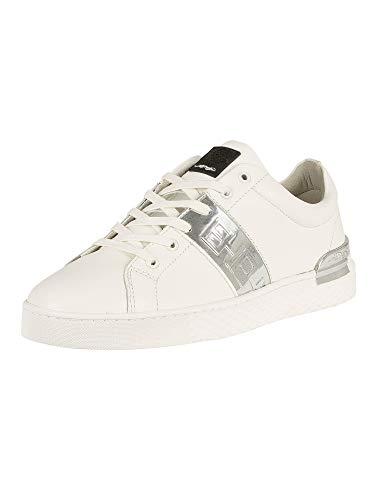 ED HARDY Herren Sneaker, gestreift, niedriges Oberteil, metallisches Leder, Weiß, Weiß - weiß - Größe: 38 EU