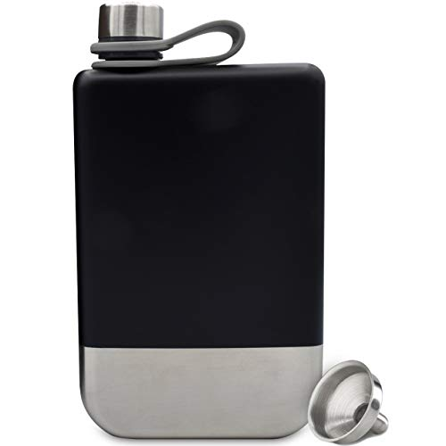 Premium 8 oz Outdoor Explorer Flask, Food Grade, 304 (18/8) Stainless Steel | Leak Proof | Liquor Flask by Future Hydrate | Includes Free Bonus Funnel (Black & Silver, 8 Ounces)
