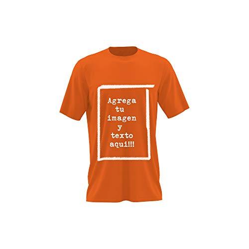 Detalles Creativos Camisetas Personalizables - T-Shirt Personalizadas .Tu Foto ó diseño en una Camiseta (Orange, XL)