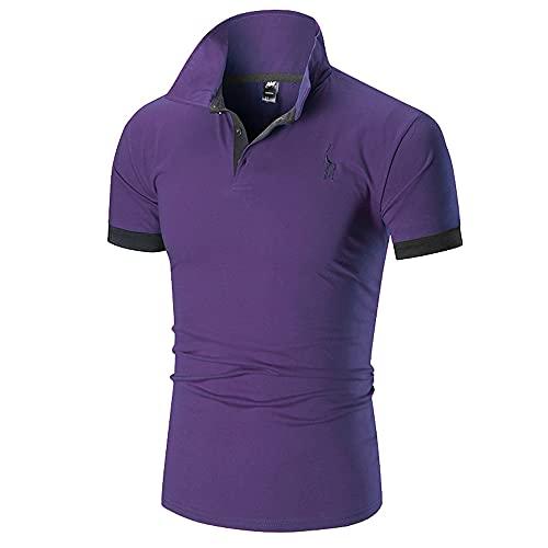 Polo Shirt Hombre Verano Básico Ajustado Elástico Hombre Shirt Moderno Cervatillo Bordado Costura Botón Placket Hombre Manga Corta Urbano Casual Sport Hombre Deportiva Camisa J-Purple L