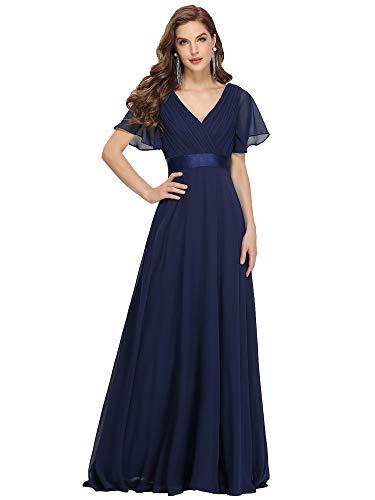 Ever-Pretty Vestito da Ballo Donna Stile Impero Linea ad A Scollo a V Maniche Corte Lungo Blu Navy 36