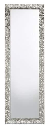 MO.WA Espejo de pared largo de madera plateada 46 x 142 cm Marco de madera para colgar en vertical y horizontal Made in Italy.