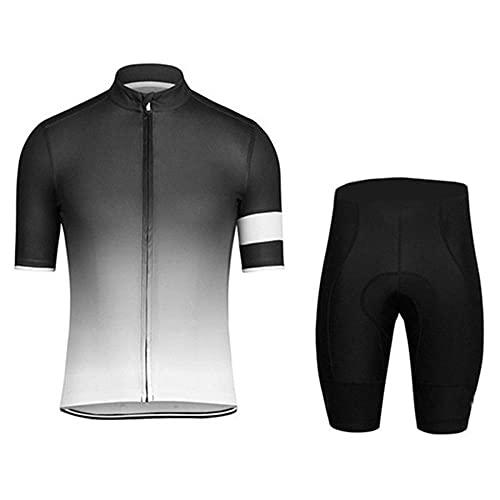 HXTSWGS Conjunto de Jersey de Ciclismo para Hombre, Pantalones Cortos de Bicicleta de compresión de Manga Corta para Hombre, Ropa de Ciclismo Acolchada con gel-A07_L