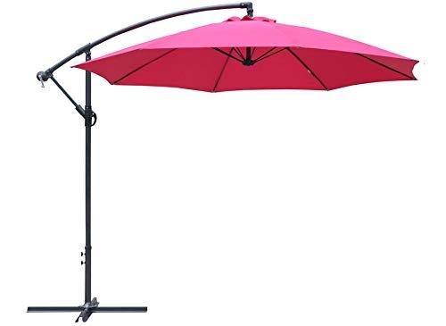 Parasol rond déporté inclinable avec pied en croix