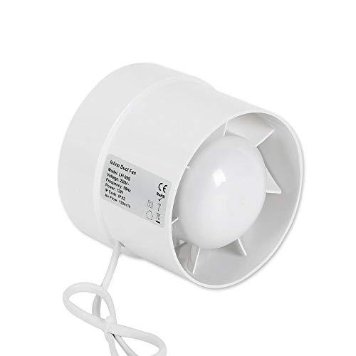 OUKANING Rohrventilator 130 m³ / h,Ø 100 mm Rohrlüfter Abluftventilator für Innenräumen Bad Küche Garage Abluft Lüfter