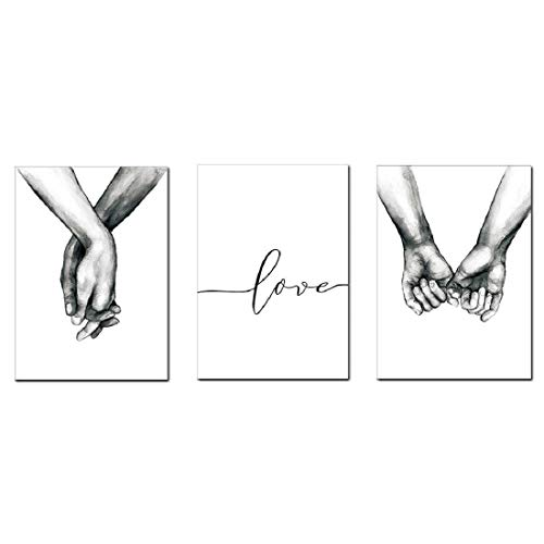 AEVIO Love and Hand in Hand Wall Art Canvas Print Poster Black and White