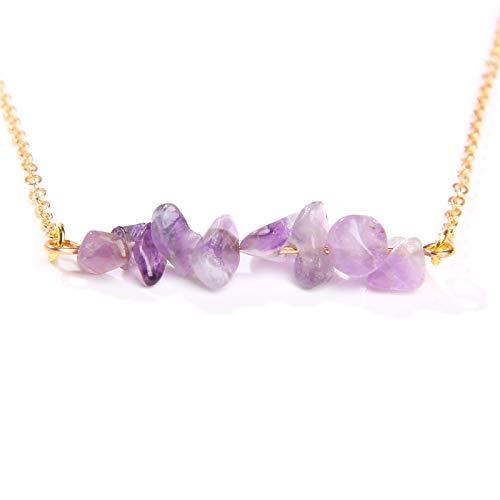 TFOOD Stone Ketting Voor Vrouwen,7 Chakra Onregelmatige Amethist Gouden Ketting Charme Energiebalans Voor Moederdag Man Geschenken Sieraden