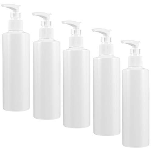 Veemoon - Lote de 5 botellas vacías de plástico, 250 ml, dispensador de botellas recargable, con líquido para loción de masaje, champú con aceite blanco
