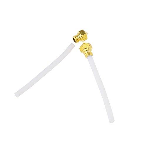Create Idea MK10 - Estrusore in ottone con ugello + tubo PTFE 0,4 mm M7, viti filettate, stampa per stampante 3D, 2 pezzi