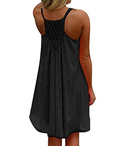 kenoce Femmes Mini Robe d'été Fluide sans Manches Grande Taille Casual T-Shirt Robe Chemisier de Plage Tunique Style Basique Col Rond Chic A-Noir S