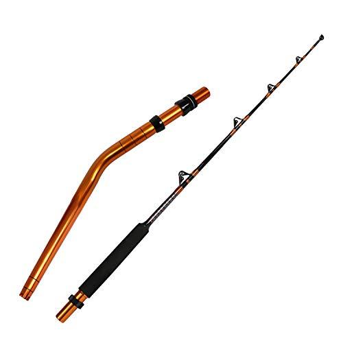 Fiblink Bent Butt Fishing Rod 2-Piece Trolling Rod Saltwater Offshore Big Game Roller Rod Conventional Boat Fishing Pole (Length: 6'-Bent Butt (Orange))
